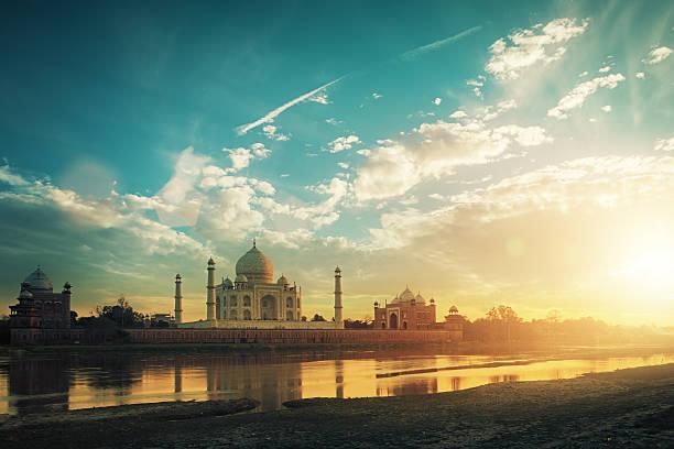 Taj Mahal at sunset stock photo