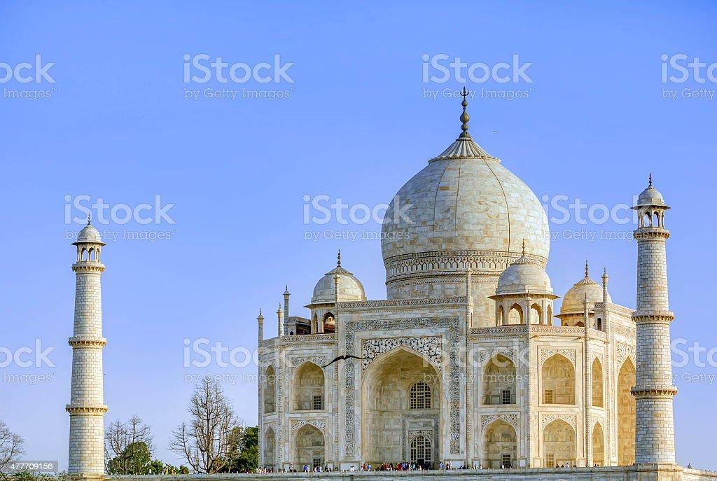 Taj Mahal, Blue sky, Travel to India stock photo