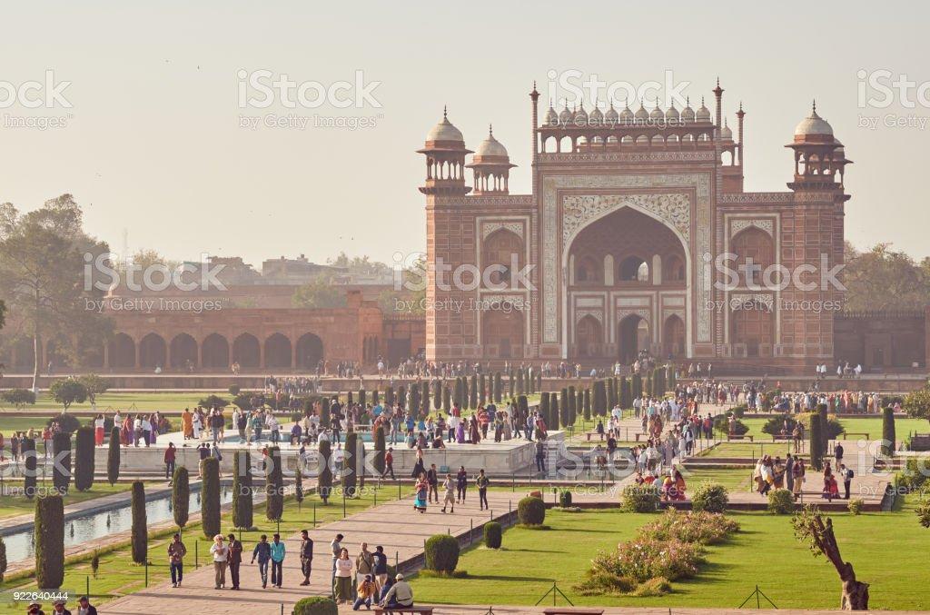 Taj Mahal, building next to the main mausoleum stock photo