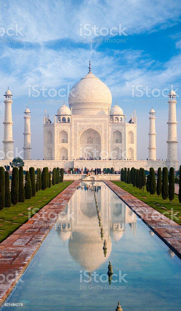 Taj Mahal Fountain Reflection Telephoto Fountain photo libre de droits