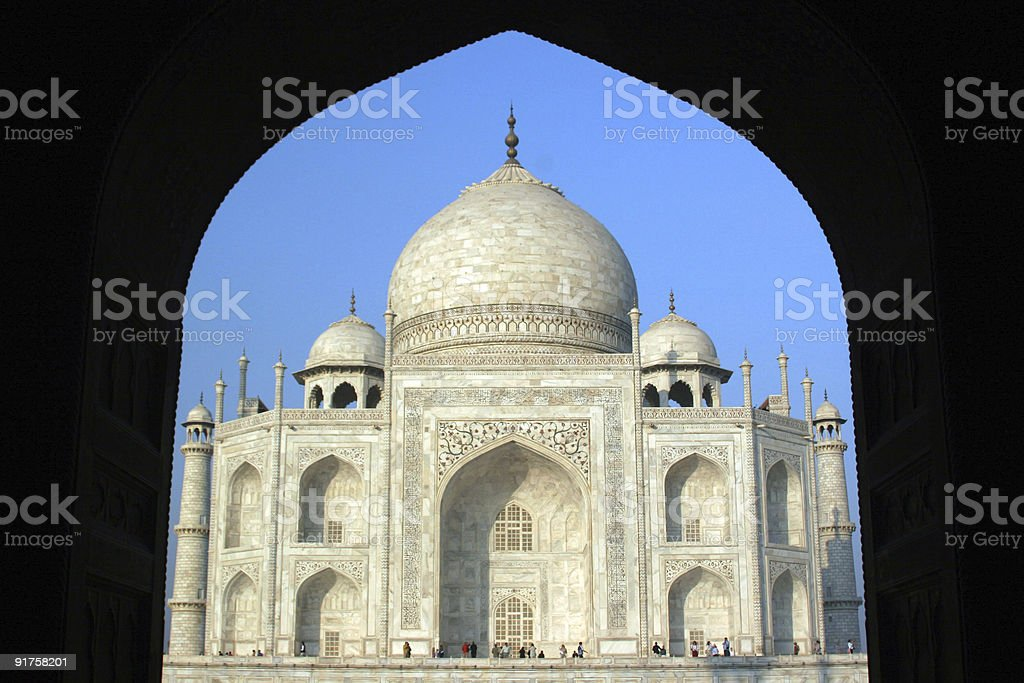 Taj Mahal framed in arch, Agra, India royalty-free stock photo