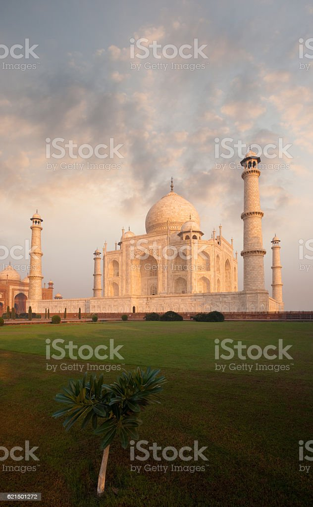 Taj Mahal Front Lawn Sunrise Morning Fiery Sky foto stock royalty-free