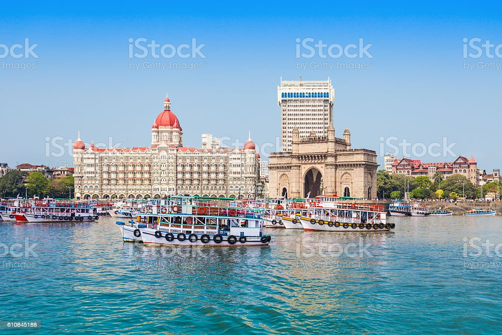 Taj Mahal Hotel and Gateway of India stock photo