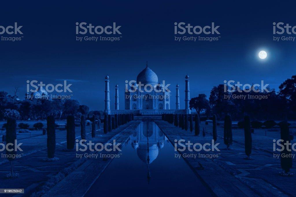 Taj Mahal in Agra, India in the light of the full moon stock photo