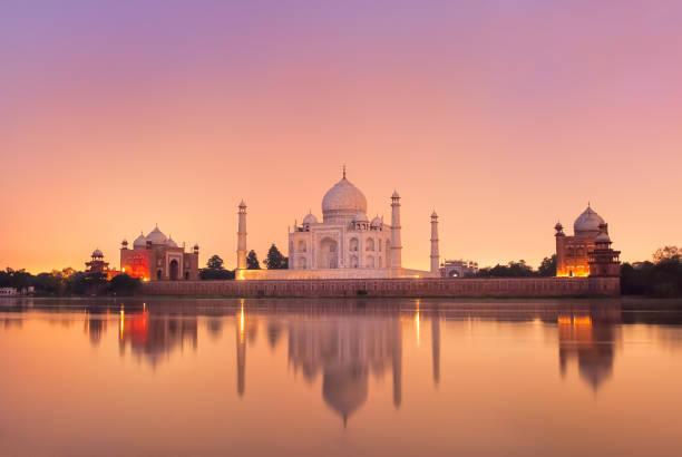 Taj Mahal in Agra, India on sunset stock photo