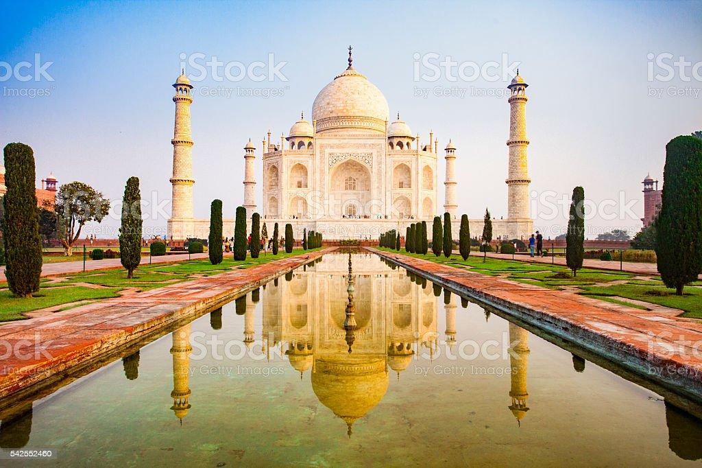 Taj Mahal in Morning Sunrise Light stock photo
