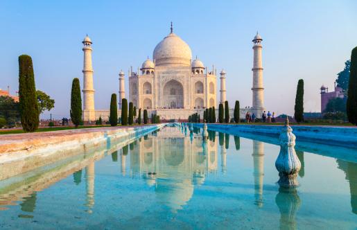 Taj Mahal In Sunrise Light Agra India Stock Photo - Download Image Now