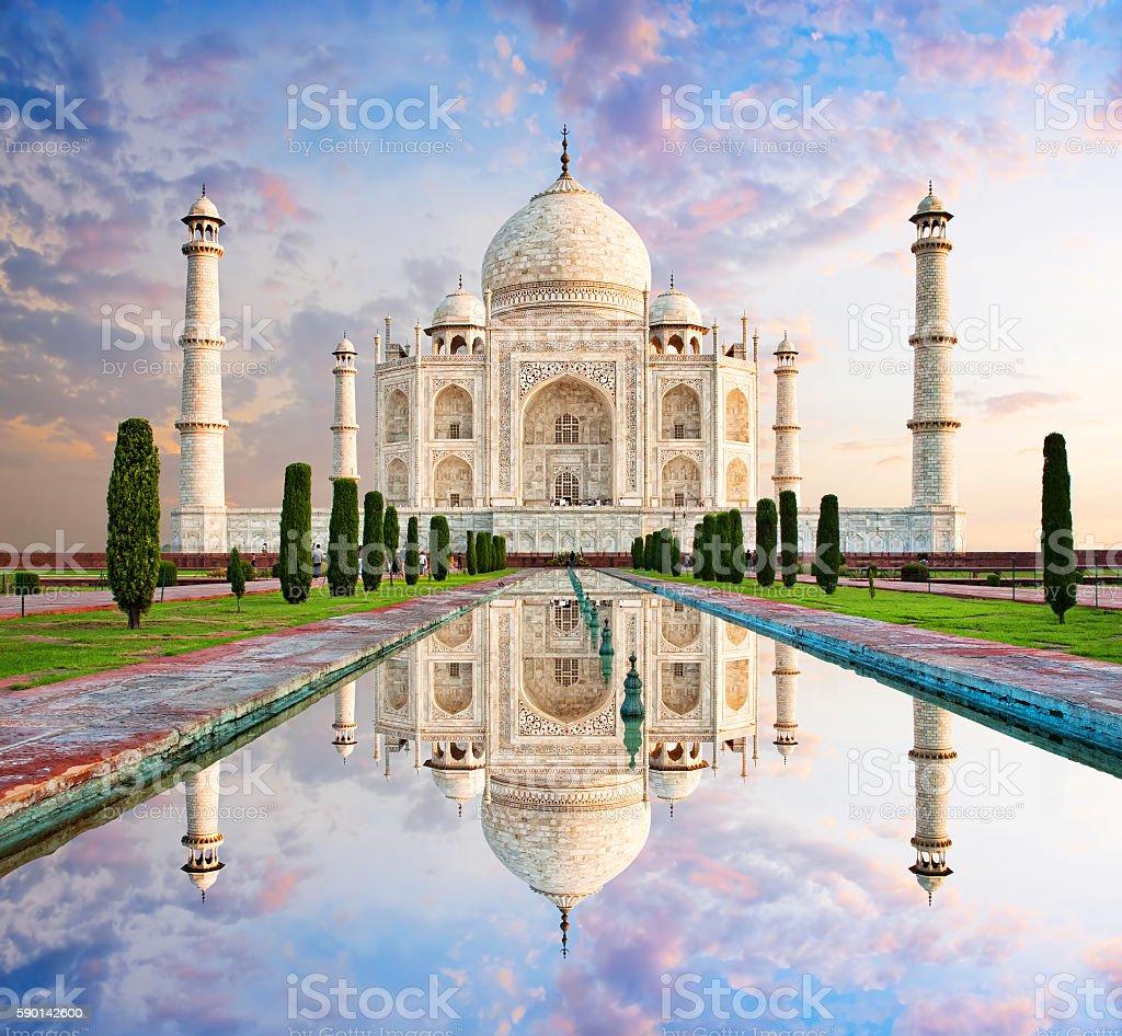 Taj Mahal in sunset light, Agra, India stock photo