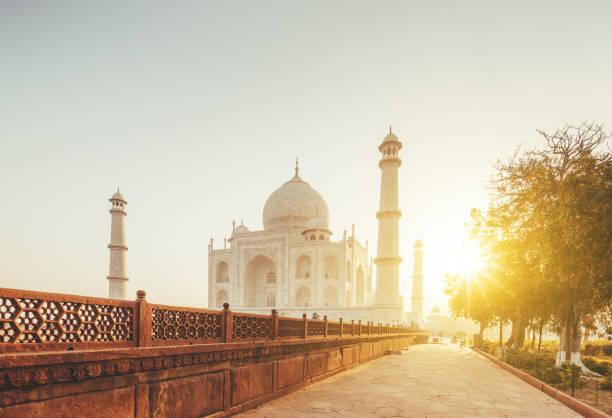 Taj Mahal in sunset light, Agra, India Taj Mahal Sunset, India agra stock pictures, royalty-free photos & images