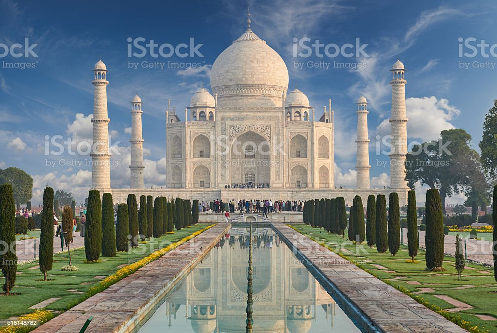 Taj Mahal India, Agra. 7 world wonders. Beautiful Tajmahal trave stock photo