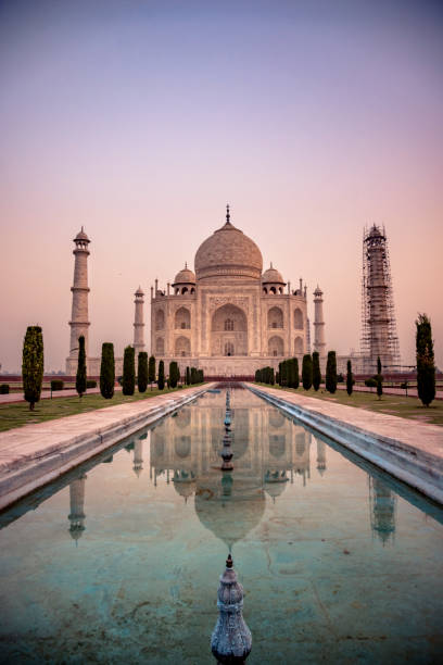 Taj Mahal Early morning hour at the Taj Mahal agra stock pictures, royalty-free photos & images