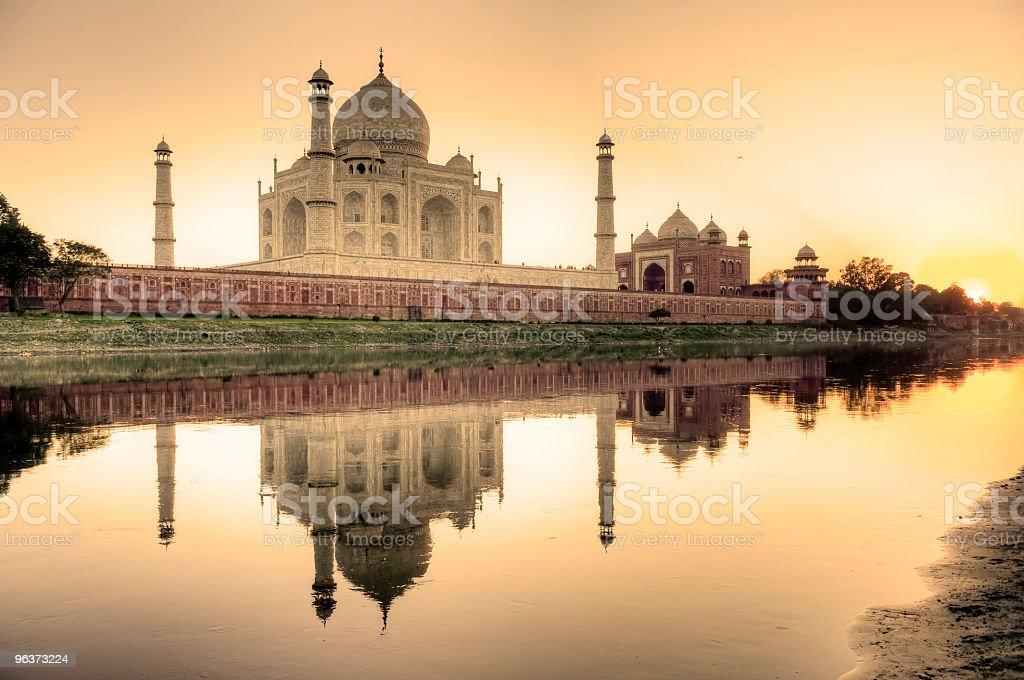 Taj Mahal reflected in the Yamuna river stock photo