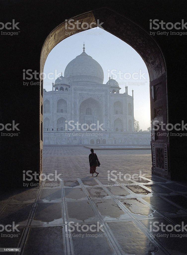 Taj Mahal seen through an arch royalty-free stock photo