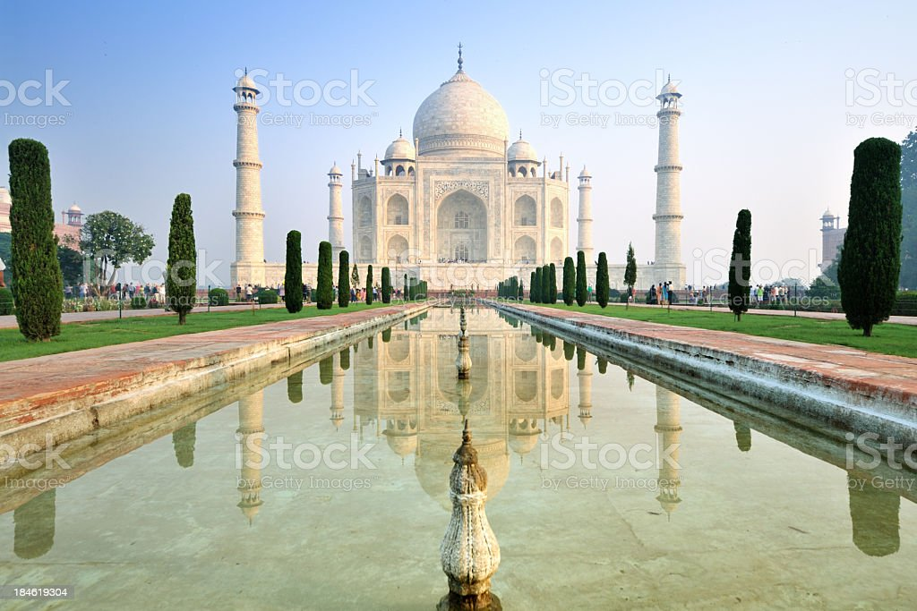 Taj Mahal sunrise with reflection stock photo