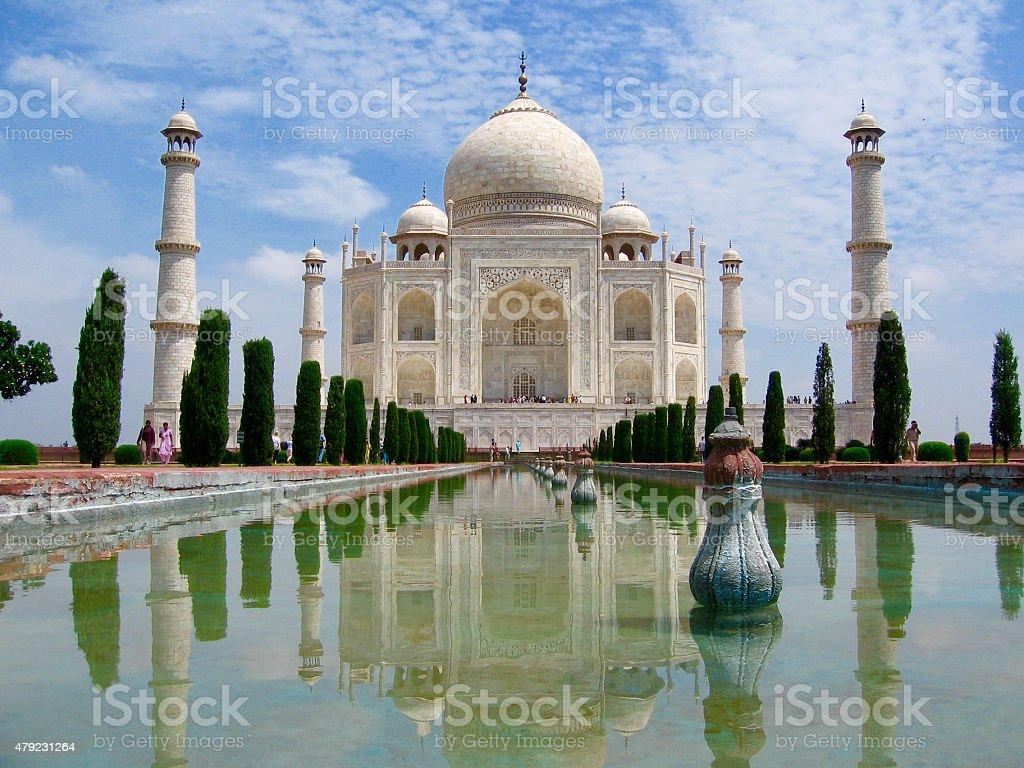 Taj Mahal sunrise with reflection stock photo