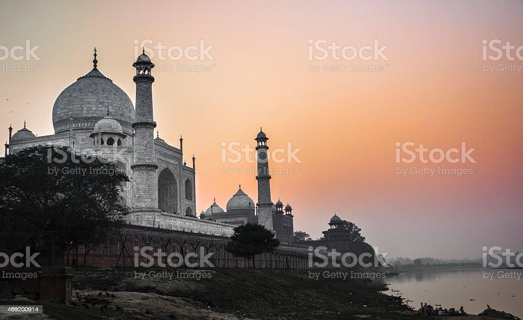 Taj Mahal sunset view from the Yamuna river stock photo