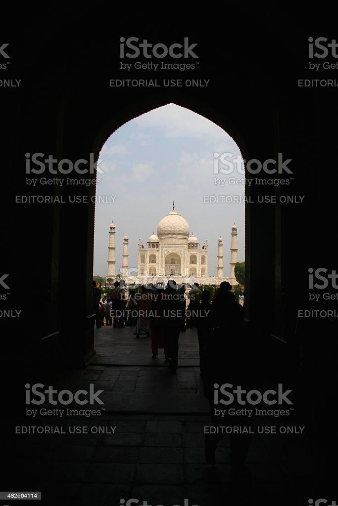 Taj Mahal through Arch - India stock photo