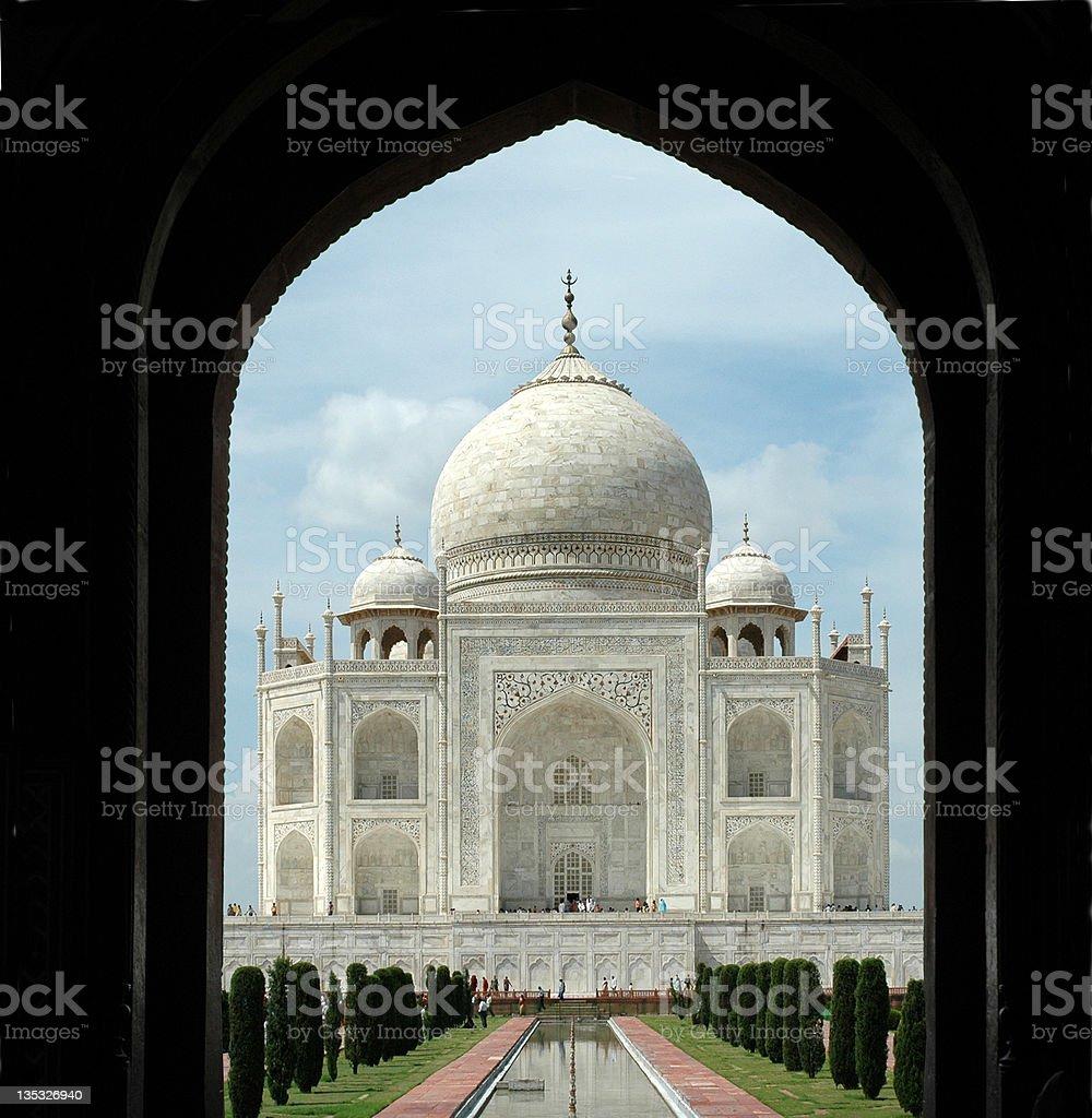 Taj  Mahal through Entrance Arch stock photo