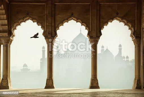 Taj Mahal through the columns, Agra, India