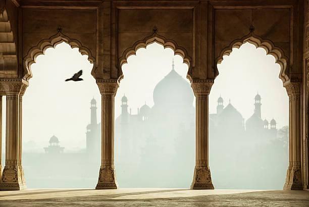 Taj Mahal through the columns, Agra, India stock photo