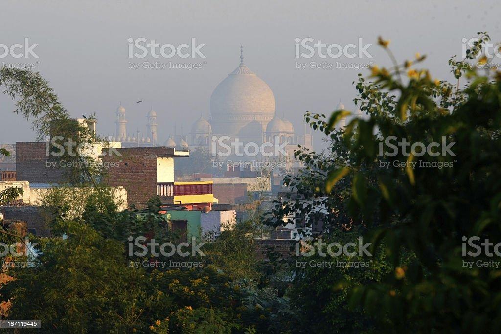 Taj Mahal view from apartments stock photo