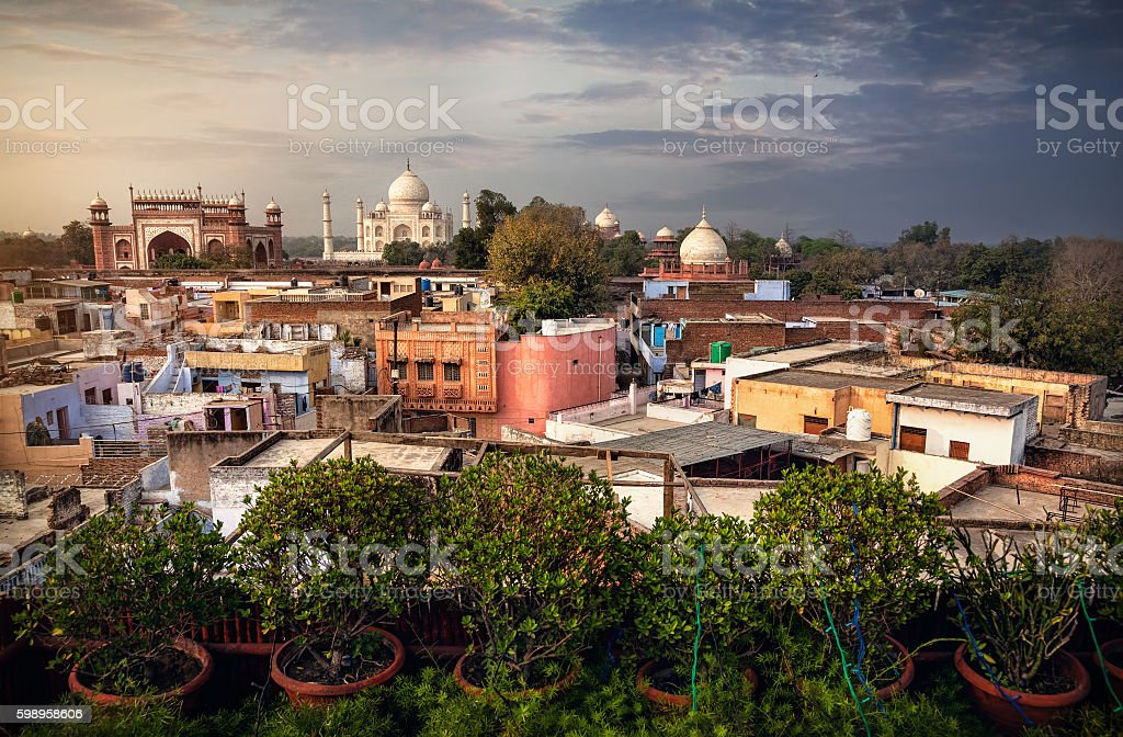 Taj Mahal view from rooftop restaurant in India stock photo