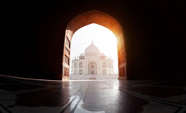 Taj Mahal view stock photo