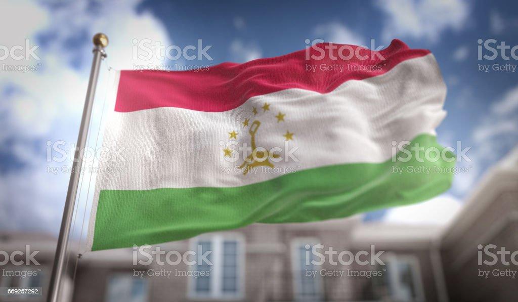 Tajikistan Flag 3D Rendering on Blue Sky Building Background stock photo