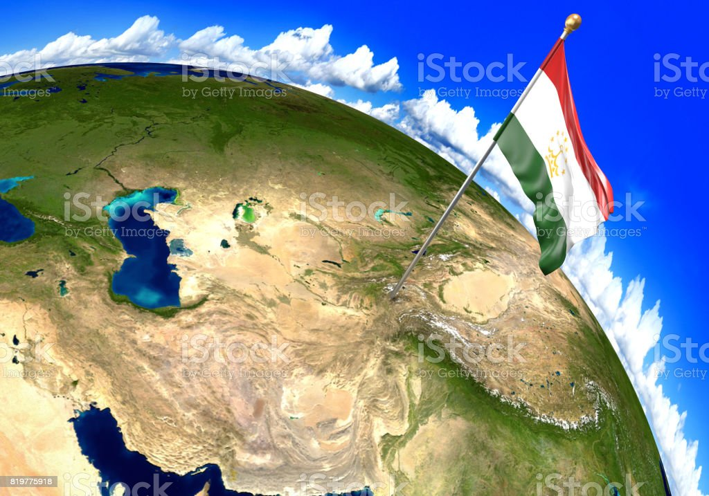 Tajikistan National Flag Marking The Country Location On World Map