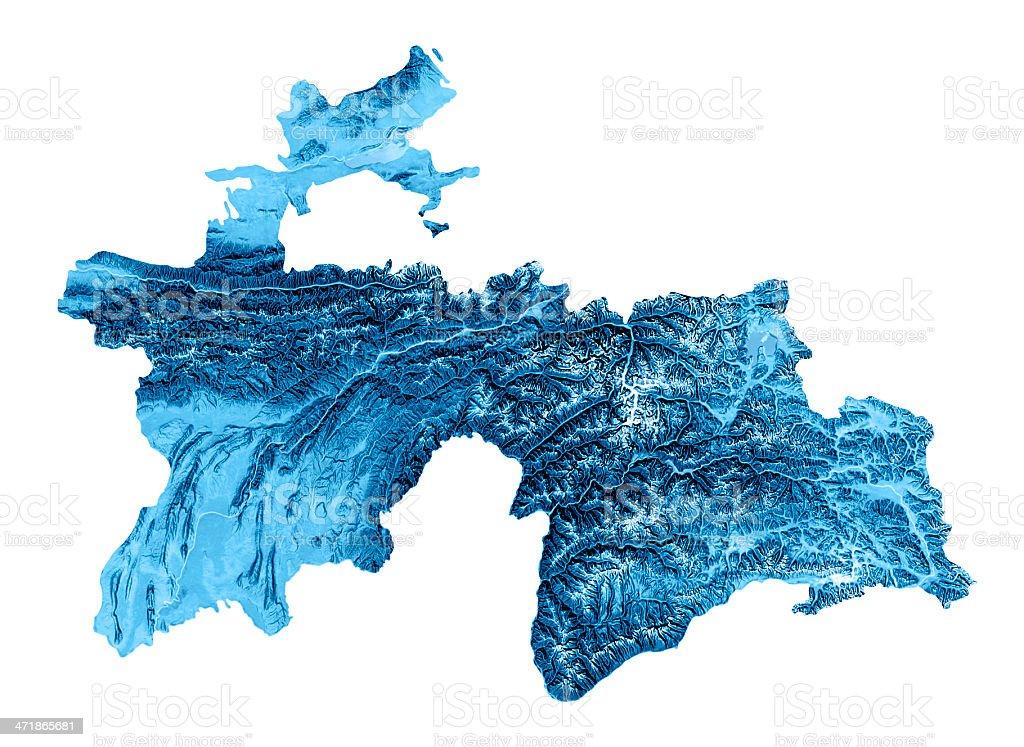Tajikistan Topographic Map Isolated stock photo