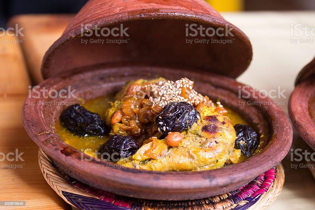 Tajine - Traditional moroccan dish. stock photo