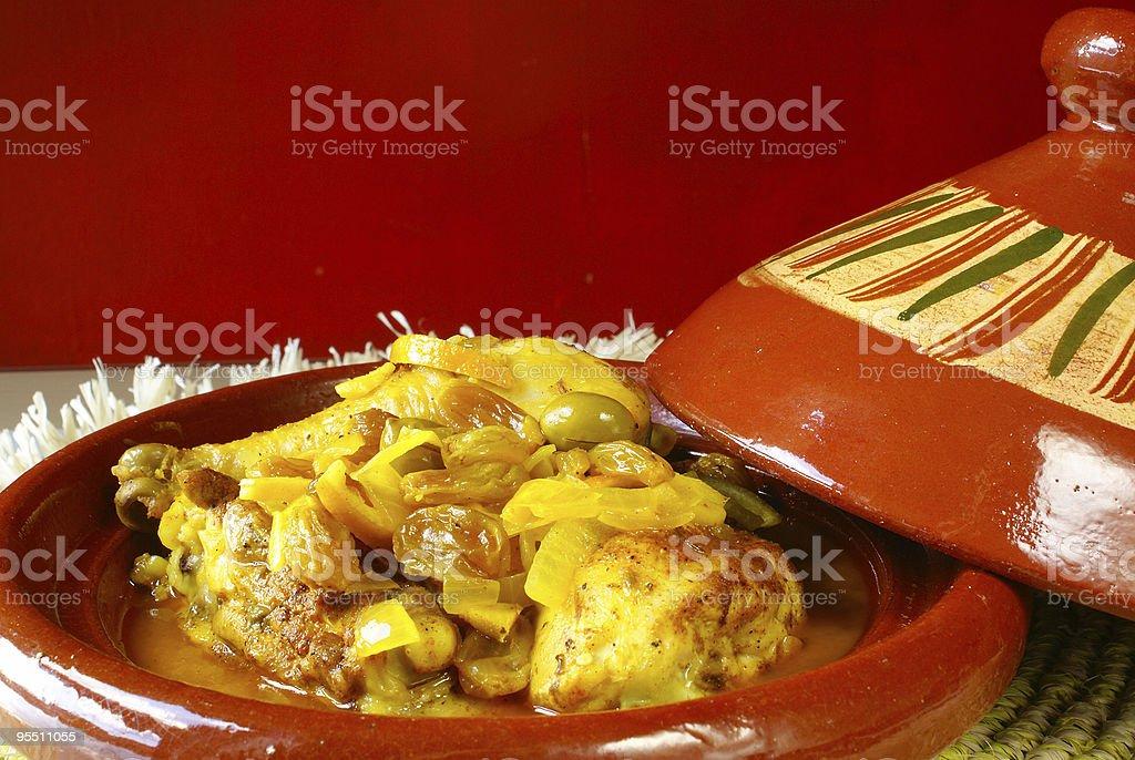 Tajine with Moroccan chicken stock photo
