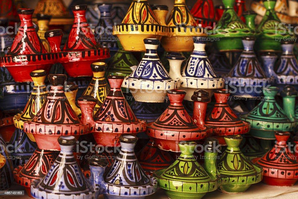 Tajines for sale in a marrakesh market stock photo