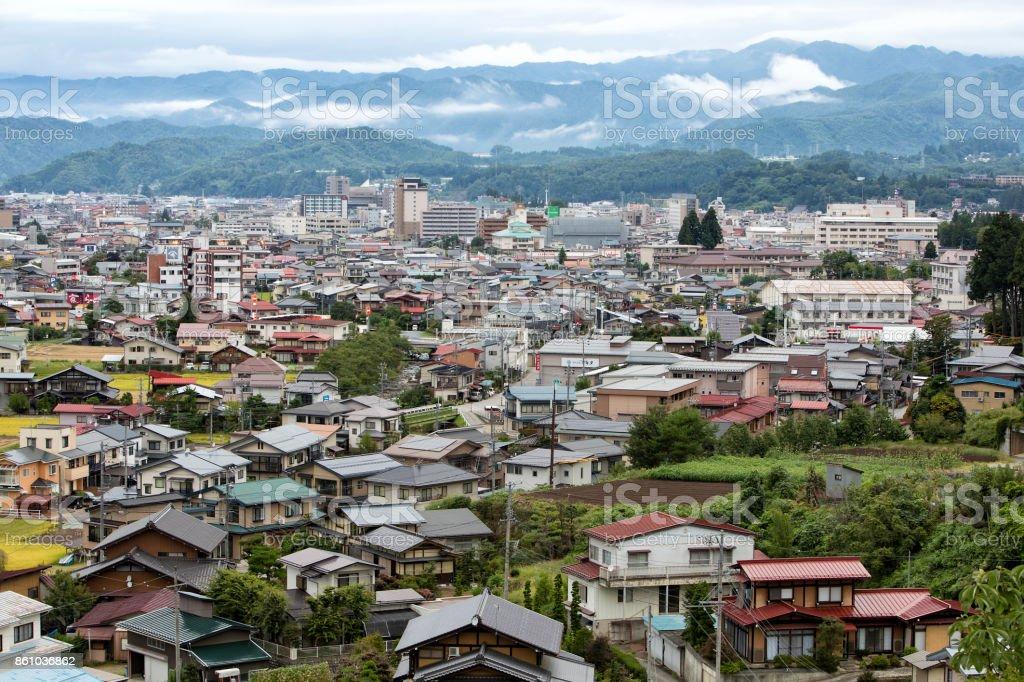 Takayama City Landscape, Aerial View, Japan stock photo