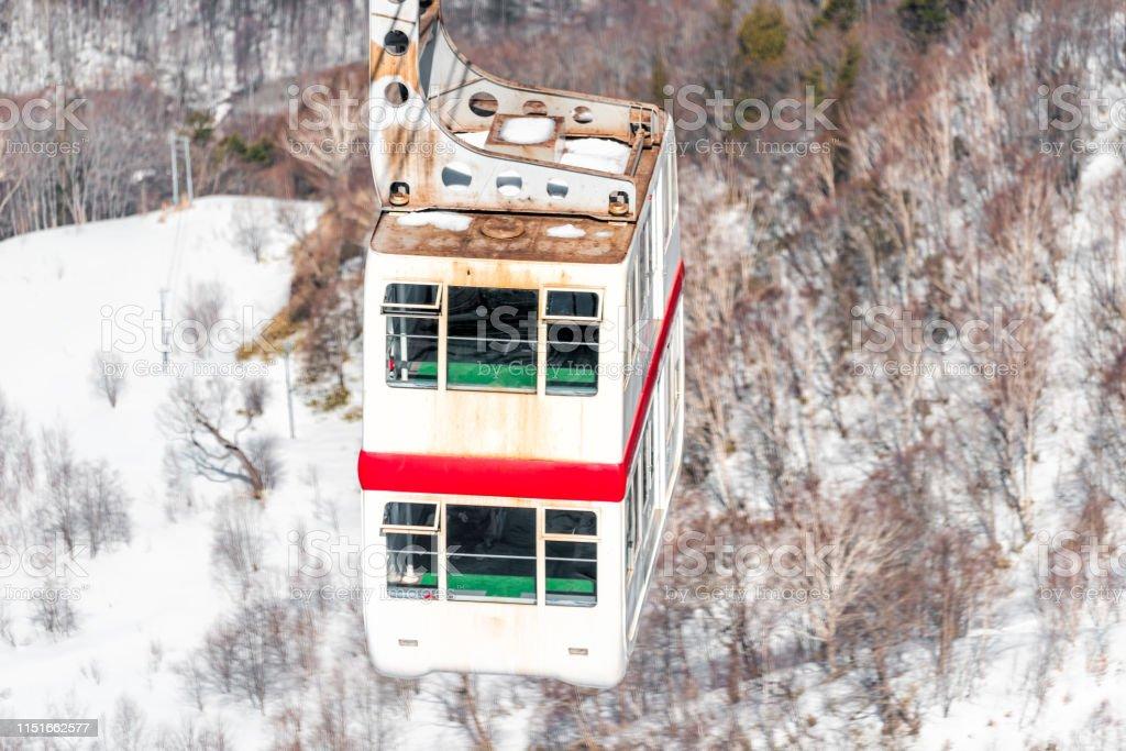 Takayama, Japan Mountain with snow and car closeup in Shinhotaka...