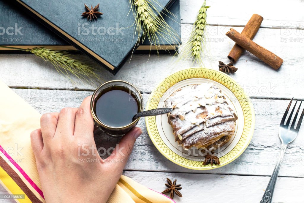 Take a arabic coffee with chocolate puff pastry and read a book take a arabic coffee with chocolate puff pastry and read a book royalty free stock forumfinder Gallery