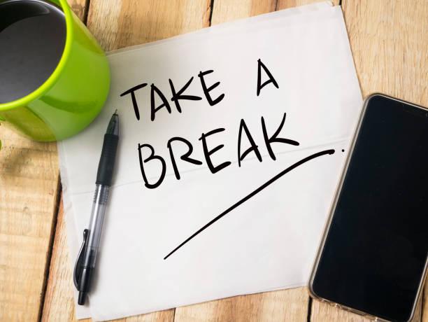 take a break, motivational words quotes concept - fare una pausa foto e immagini stock