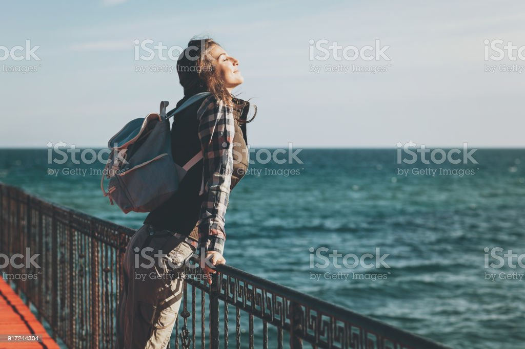 Take a moment to appreciate the peace and beauty around stock photo
