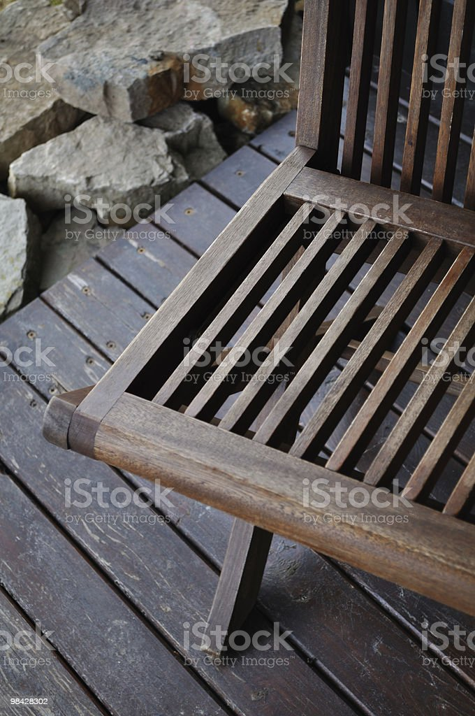 Take a seat. Relax. Wooden folding chair. royalty-free stock photo