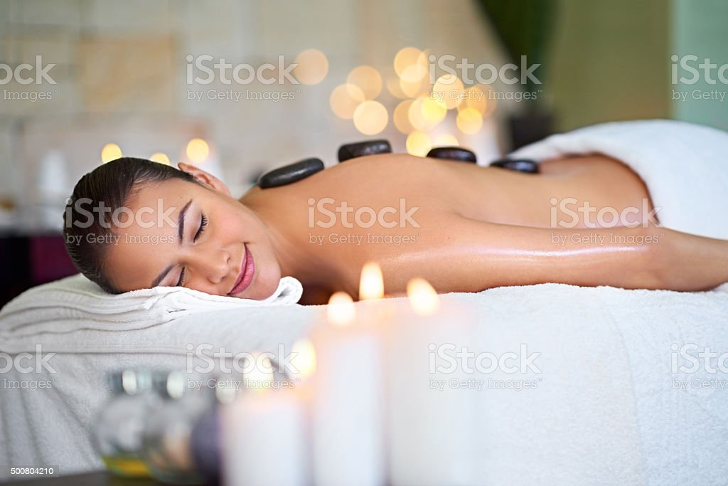 Take a vacation on our massage table stock photo