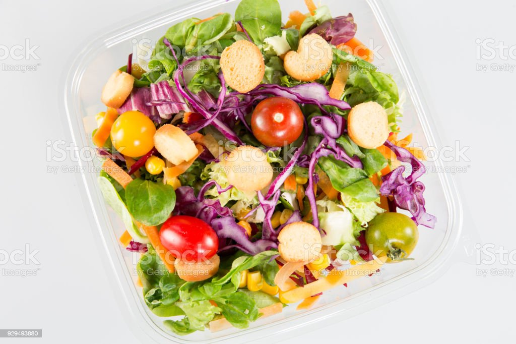 take away bowl with fast food salad stock photo