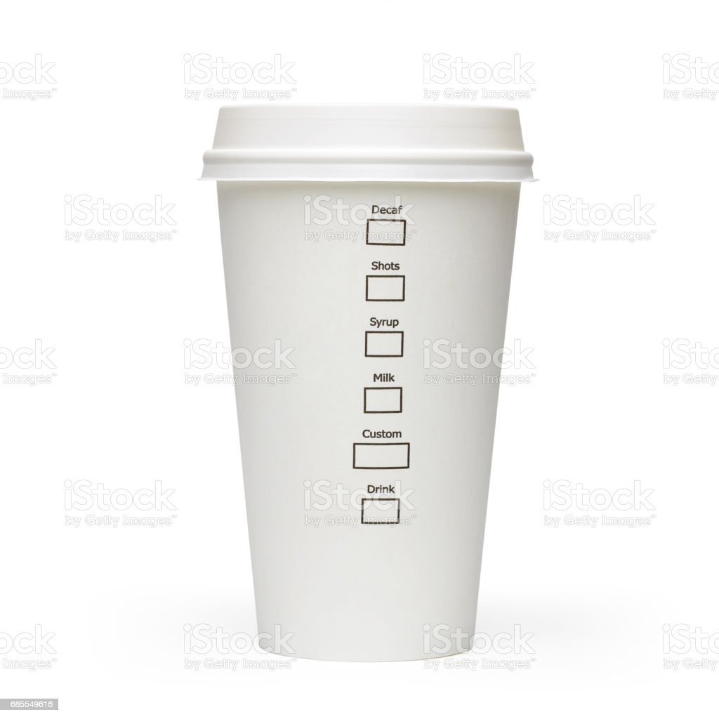 Take away coffee cup side view stock photo