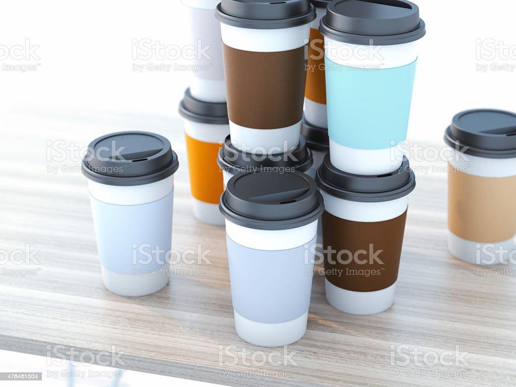 Take away coffee cups stock photo