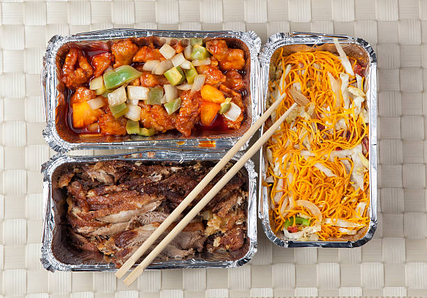 Take away food Oriental food take away boxes shot from above chinese takeout stock pictures, royalty-free photos & images