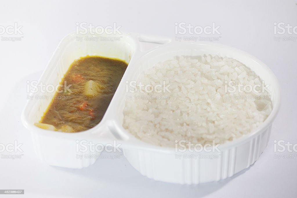 Take away food, Thai curry Massaman with rice stock photo