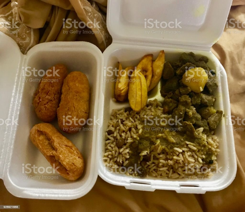 take away jamaican food curry goat with rice peas plantain