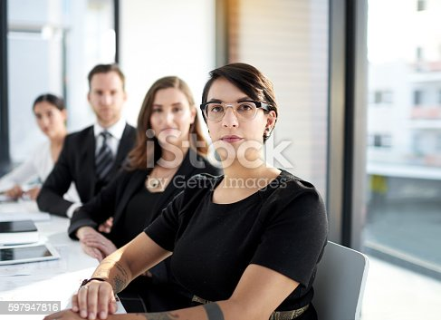 Portrait of a group of business colleagues meeting in the boardroom