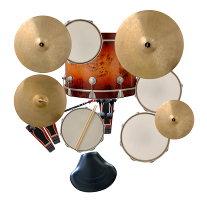 Overhead View of a Drum Kit on White.