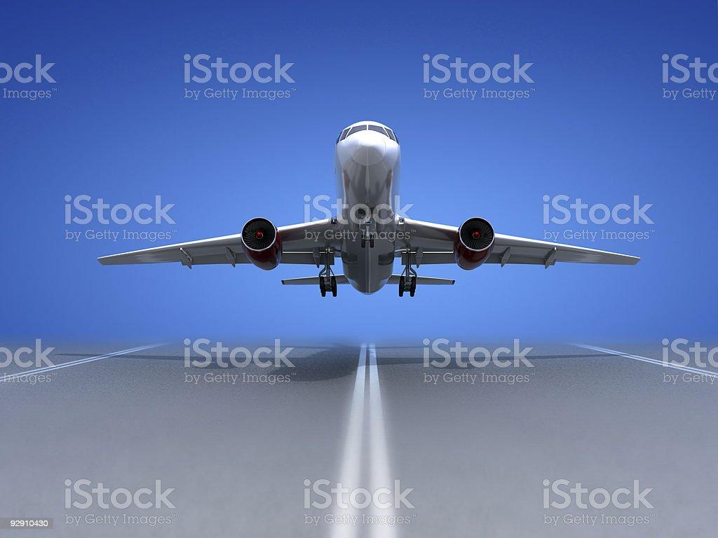 Take off airplane stock photo