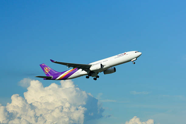 a330 take off from chiangmai - respiratory tract stock photos and pictures